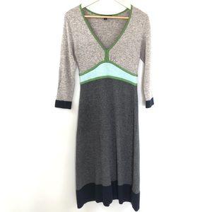Boden V-Neck Sweater Dress Gray